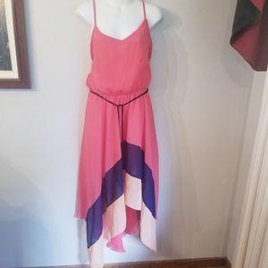 3/20$ A-list by wrapper color block hi-low dress